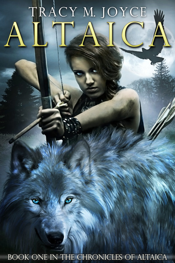 The cover of Altaica by Tracy M Joyce. Features a woman holding a bow with an arrow strung, with a blue-grey wolf in the foreground.