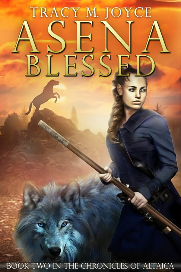The cover of Assena Blessed by Tracy M Joyce. Features a woman holding a fighting staff standing next to a blue-grey wolf. In the background, a mule rears atop a hill.
