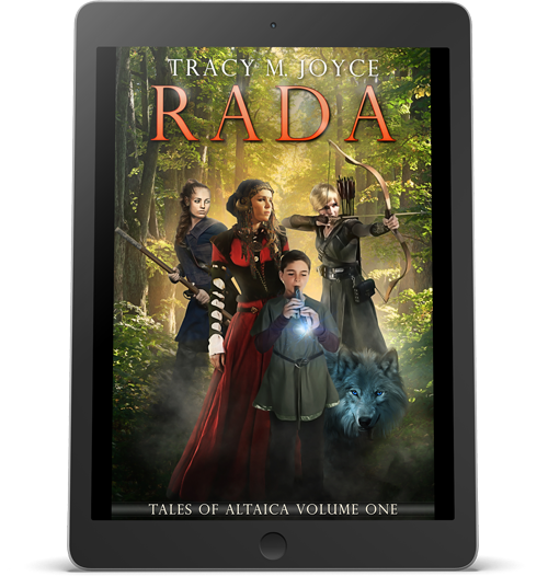 The cover of Rada by Tracy M Joyce, displayed on an iPad.