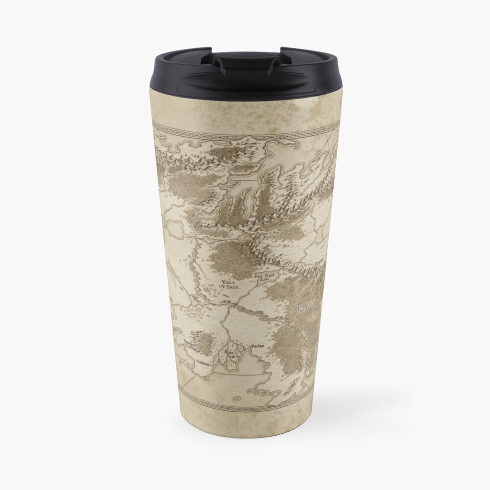 Example of a tall travel mug with the Altaica map wrapped around it.